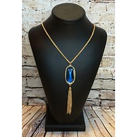 Let it Be Known Tassel Necklace: Royal Clear
