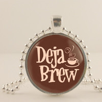 "Deja Brew, brown, 1"" glass and metal Pendant necklace Jewelry."