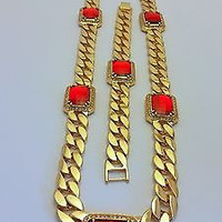 RED RUBY CHAIN NECKLACE SET