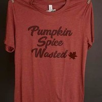 "Gina ""Pumpkin Spice Wasted"" Clay Appliqued Tee"