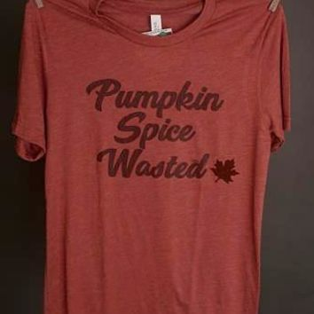 """Gina """"Pumpkin Spice Wasted"""" Clay Appliqued Tee"""