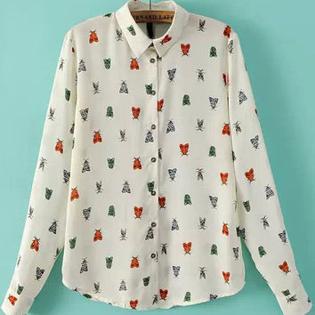 White Insect Print Chiffon Pointed Flat Collar Long Sleeve Blouse