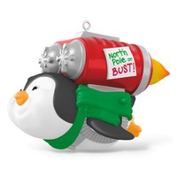 North Pole or Bust Rocket-Powered Penguin Fly Musical Ornament