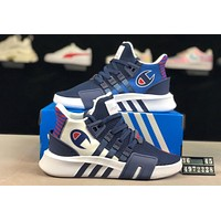 ADIDAS EQT x Champion joint model 2019 new mesh breathable casual sports shoes Blue