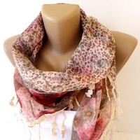 floral scarf, womens fashion accessory scarves, cowl scarf, shawl scarf , Lace scarf double sided