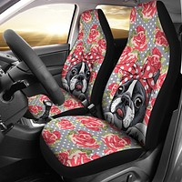 Floral Boston Terrier Car Seat Covers-Clearance