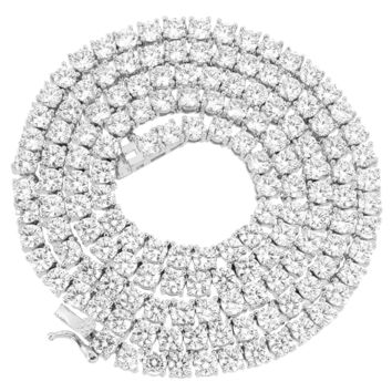 """14k White Gold Finish Sterling Silver 3mm Solitaire 24"""" Designer Tennis Necklace"""
