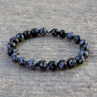 Warrior, Genuine Obsydian Gemstone Mala Bracelet