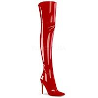 "Courtly 3012 Thigh High Boots Red Patent 5"" Stiletto Heel 6 - 14"