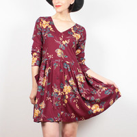 Vintage 90s Dress Burgundy Floral Babydoll Dress Mini Dress 1990s Dress Soft Grunge Dress Hipster Lolita Boho Long Sleeve Dress M Medium L