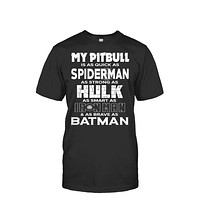 Pitbull Collection- My pitbull is as quick as spider man as strong as hulk as smart as ironman - Men Short Sleeve T Shirt - SSID2016
