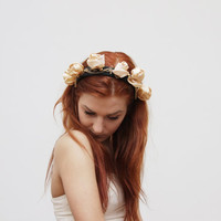 55% off SAINT - taffeta and gold floral crown- Ready To Ship - back to school sale