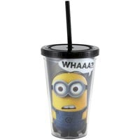 Silver Buffalo DM05087 Despicable Me What Cold Cup with Lid and Straw, 16-Ounce, Black