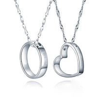 ORSA Men Women Love Heart Silver Necklace Platinum Plated Couple Pendant Necklace for Valentine's Day Gift PN97