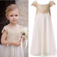 IN Stock White Flower Girl Dresses for Weddings Cheap Floor Length Cap Sleeves Girls Kids Lace First Communion Dress Customize