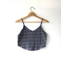 vintage cropped tank top. striped tank top. basic tank.