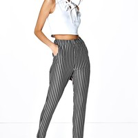 Carmel Skinny Striped Trousers | Boohoo
