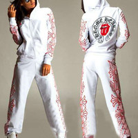 Printing hooded long-sleeved two-piece   HBAQR549