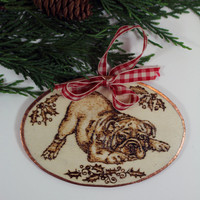 Bulldog Playing Christmas Ornament or Gift
