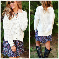 Safe Haven Ivory & Gray Button Up Cardigan