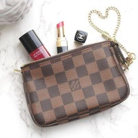 LV Louis Vuitton Ladies Leather Tote Handbag Bag Shoulder Bag Wallet Clutch Bag Wristlet Set Two-Piece Zipper Canvas Key Pouch I