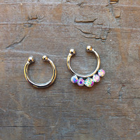 Set of 2 Silver Opal Small Clip On Nose Ring, Rhinestone Faux Septum Piercing