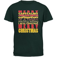 Christmas Sarcastic Merry Pagan Funny Forest Green Adult T-Shirt