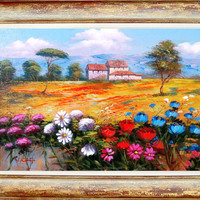 n3 Italian landscape enjoy and colors of Luigi Conte original oil on canvas + frame