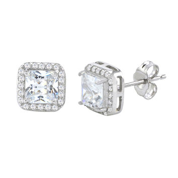 Sterling Silver Rounded Square CZ Stud Earrings Micropave Cubic Zirconia 9mm