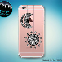 Sun and Moon Strings Henna Art Clear Rubber See-Through Transparent Case for iPhone 6S Plus, 6 Plus, 6s, 6, 5s, 5, SE