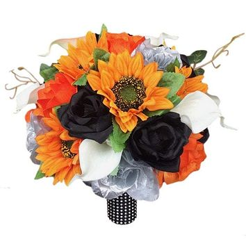 Bridal bouquet - Orange, Black, and Silver Artificial Calla Lily, Sunflower and Rose Bouquet