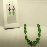 Emerald Sea Glass Necklace and Earrings With Decorative Hand Painted Glass Beads  Both for 25 Dollars