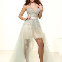 Terani P3137 -Seafoam/Nude Strapless High Low Prom Dresses Online