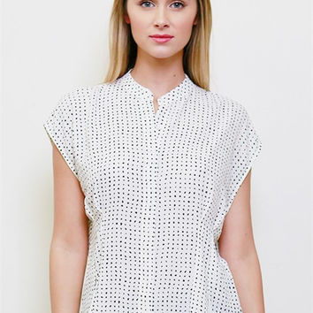 Short Sleeve Abstract Polka Dots Blouse - Ivory/Black