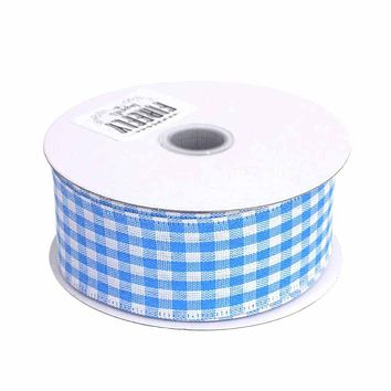 Gingham Canvas Ribbon Wired Edge, 1-1/2-Inch, 10 Yards, Blue