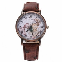 Yesiyan Unisex Vintage World Map Pattern Leather Strap Band Watch Brown