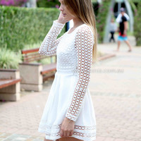 FOR LOVE DRESS , DRESSES, TOPS, BOTTOMS, JACKETS & JUMPERS, ACCESSORIES, 50% OFF , PRE ORDER, NEW ARRIVALS, PLAYSUIT, COLOUR, GIFT VOUCHER,,White,LACE,LONG SLEEVES Australia, Queensland, Brisbane