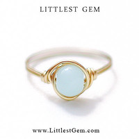 Faux Blue Opal Ring, Brass or 14k Gold Filled, wire wrapped ring, wire wrapped jewelry handmade, unique rings, blue ring