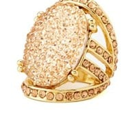 Sparkling Multi-Stone Caged Cocktail Ring - Pale Peach