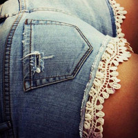 Jean Shorts with Crochet
