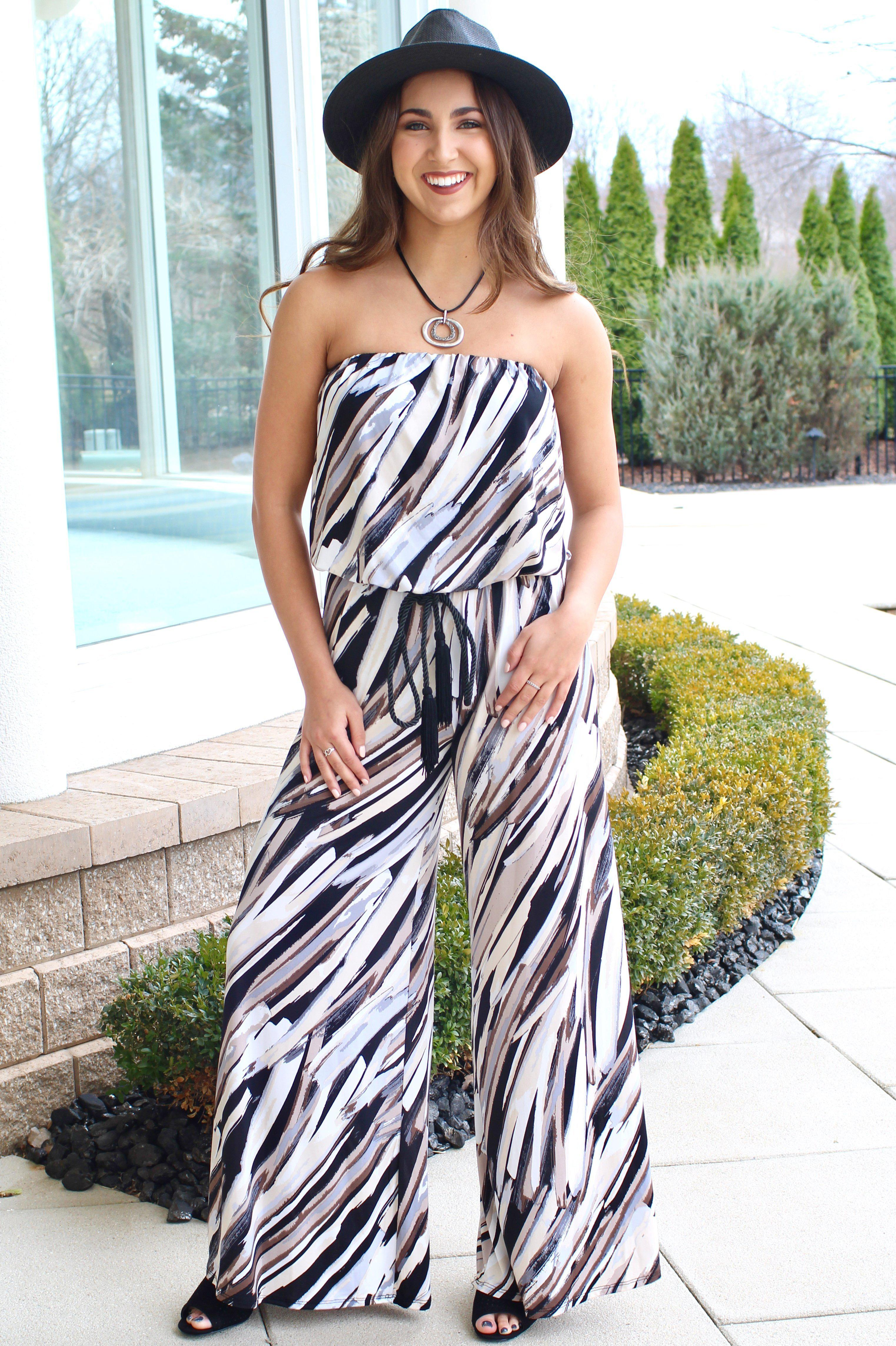 Image of Strapless Multi-Color Printed Jumpsuit