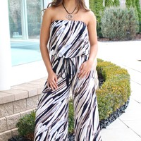 Strapless Multi-Color Printed Jumpsuit