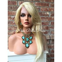 Caridee Platinum Blonde Multi Parting Human Hair Blend Front Lace Wig 18""