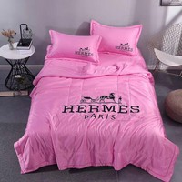 Pink Comfortable Soft HERMES Bedding Blanket Quilt Coverlet Pillow Shams 4 PC Bedding Sets Home Decor