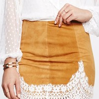 For Love & Lemons Giddy Up Suede Skirt in Camel