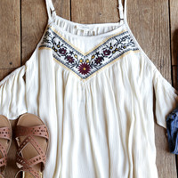 Fool For Love Embroidered Cold Shoulder Top, Natural