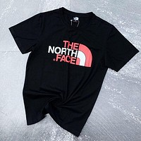 The North Facre New fashion letter print couple top t-shirt Black