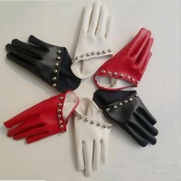 Good quality! Women's fashion rivet gulps half palm PU leather gloves women's club dance party glove white black red color