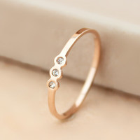 Womens Original Rose Gold Hollow Out Diamond Ring Gift-124