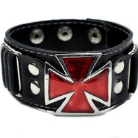 Red Iron Cross Wristband Punk Gothic Metal Rock Hard